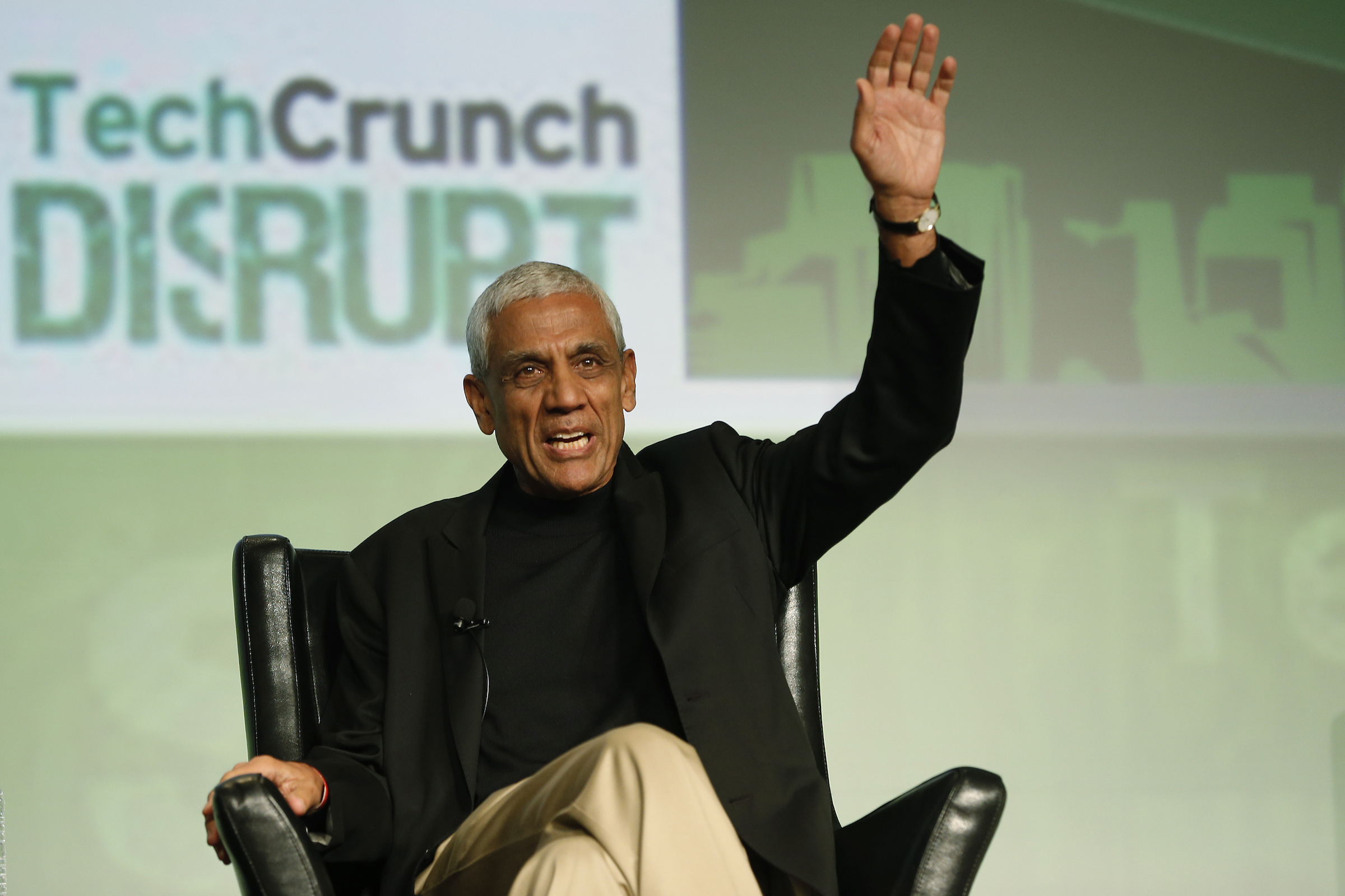 Khosla Ventures founder Vinod Khosla speaks on stage during TechCrunch Disrupt SF 2012 at the San Francisco Design Center Concourse in San Francisco, California September 12, 2012.