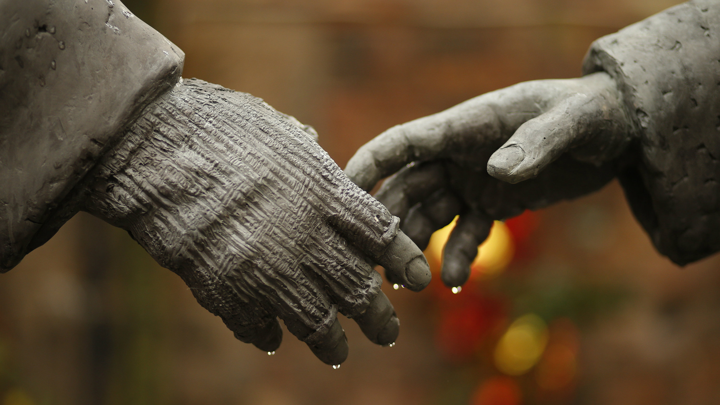"""A detail of a resin sculpture, called """"All Together Now"""", by artist Andrew Edward's is seen after being unveiled in the remains of St Luke's Church in Liverpool, northern England December 15 , 2014. The sculpture, depicting the Christmas Day football match between German and British soldiers fighting on the front line in World War One in 1914, will be displayed in the church that was damaged during German bombing of Liverpool in 1941."""