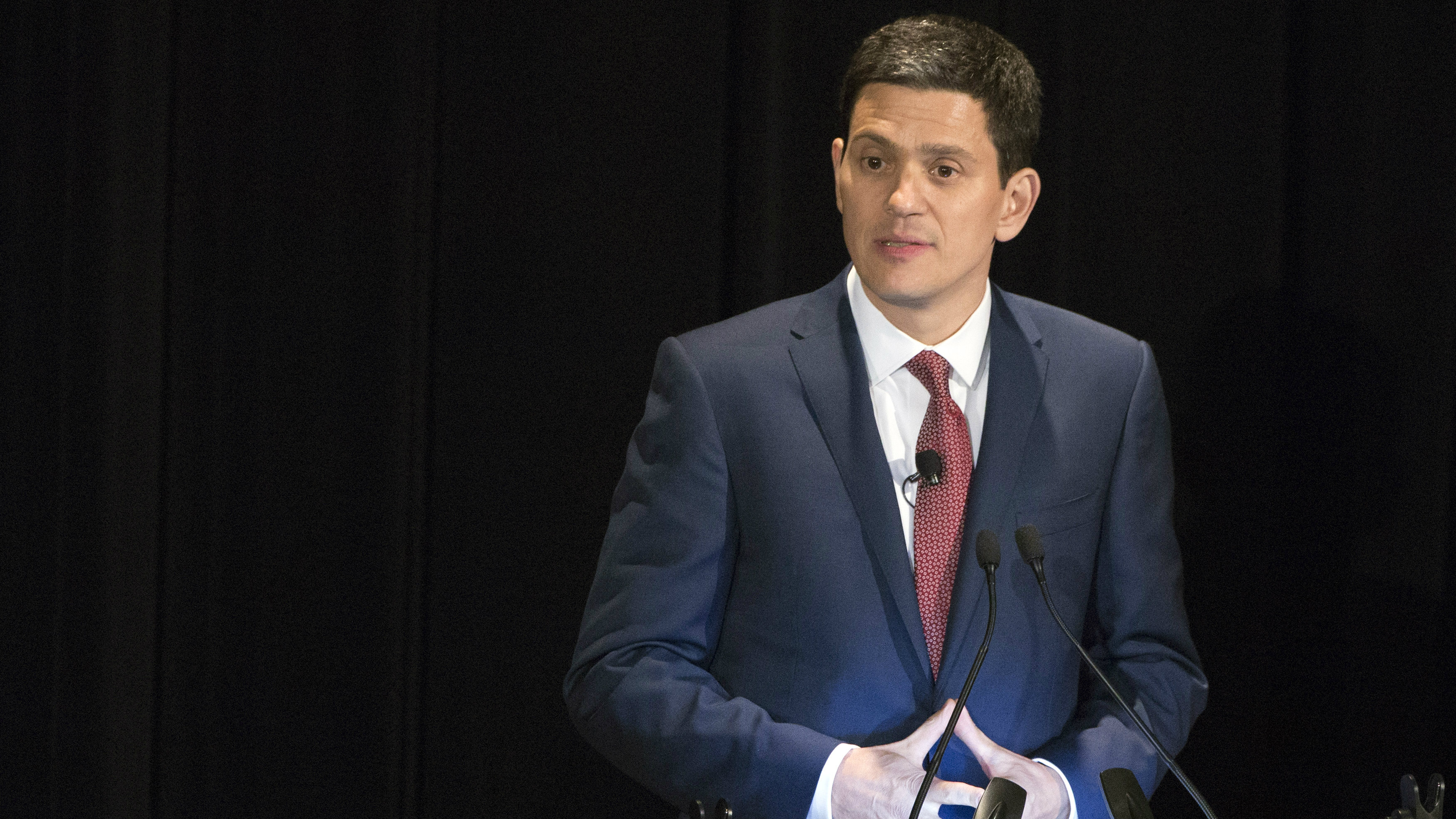 RC President and CEO David Miliband speaks onstage at the Annual Freedom Award Benefit Event hosted by the International Rescue Committee at the Waldorf-Astoria in New York November 6, 2013.