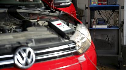 A Volkswagen car is pictured during a test at a technical and testing centre in Zenica, Bosnia and Herzegovina, September 23, 2015.