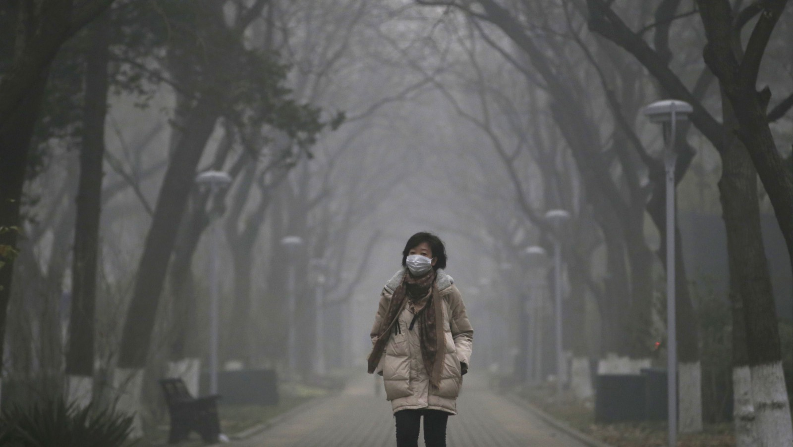 A woman wearing a mask walks as smog covers China's capital Beijing on an extremely polluted day, December 1, 2015. REUTERS/Jason Lee - RTX1WLNE