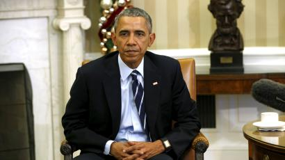 U.S. President Barack Obama speaks about the shootings in San Bernardino, California during a meeting with his national security team in the Oval Office of the White House in Washington December 3, 2015.