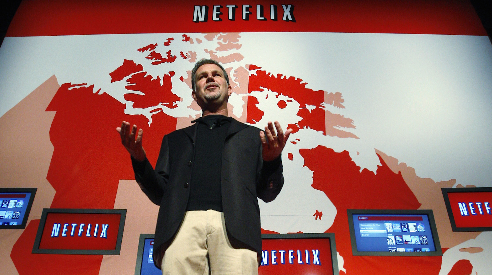 Netflix Chief Executive Officer Reed Hastings speaks during the launch of streaming internet subscription service for movies and TV shows to TVs and computers in Canada at a news conference  in Toronto September 22, 2010. The Canadian introduction marks the first availability of the Netflix service outside of the United States.   REUTERS/ Mike Cassese   (CANADA - Tags: MEDIA BUSINESS) - RTXSJ6V