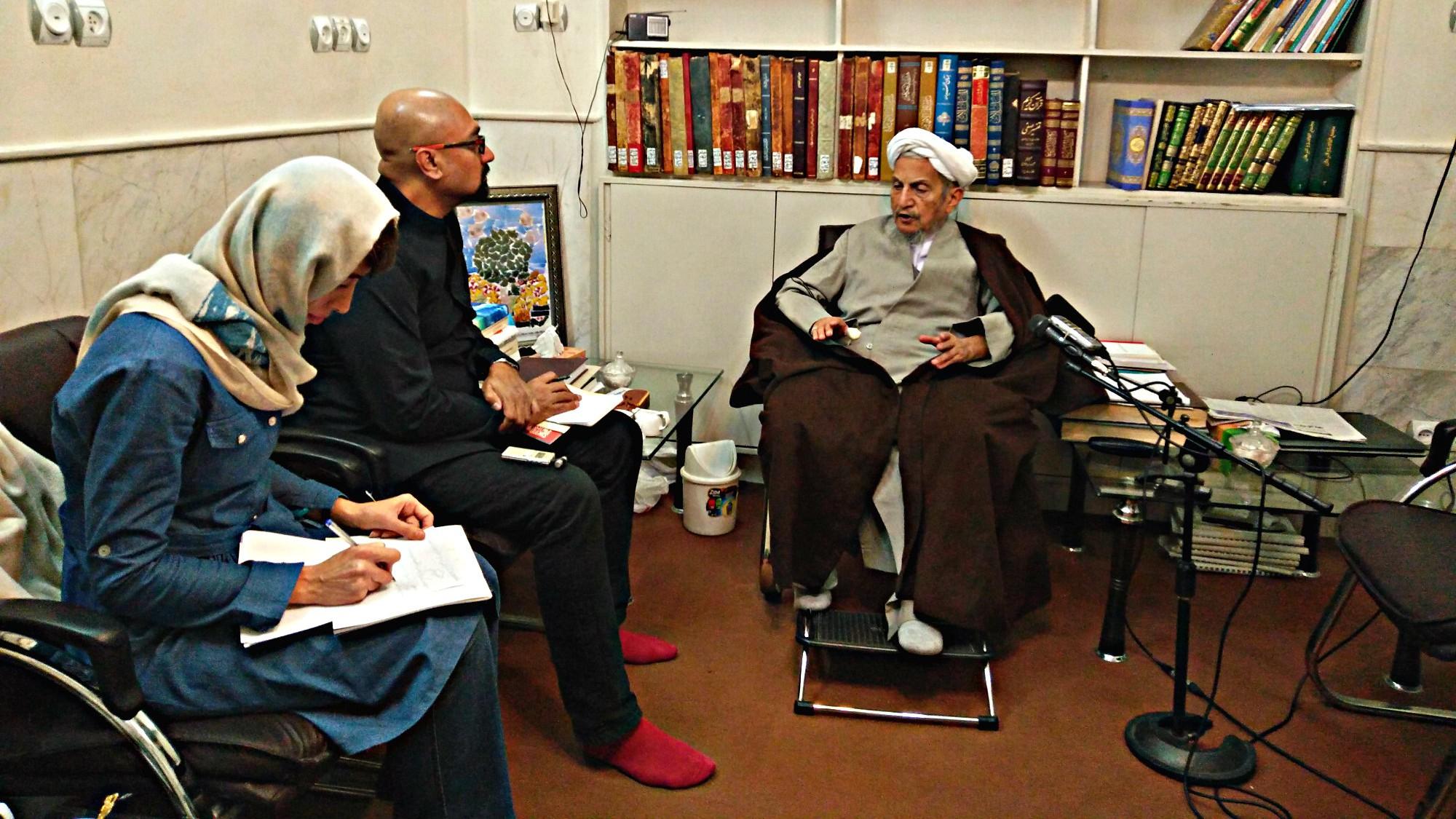Grand Ayatollah Yousef Saanei, seen in his office in Qom, Iran