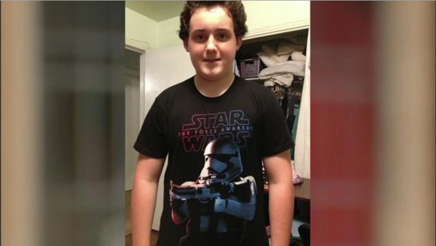 Colton Southern and his t-shirt, seen in KTRK's report