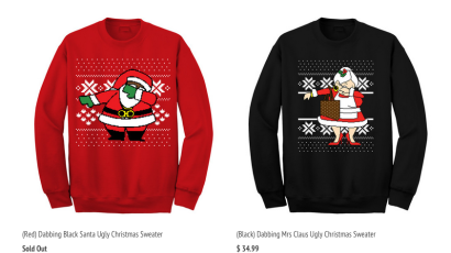 2 Chainz's Dabbing Santa and Mrs. Claus sweaters