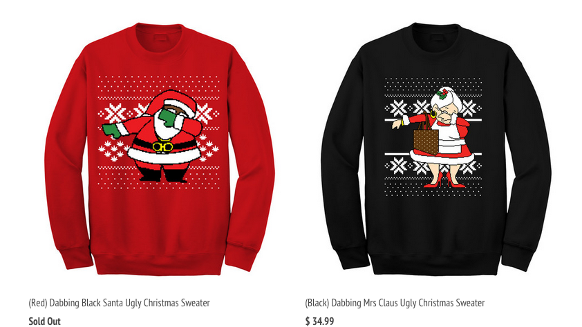 2 chainzs dabbing santa and mrs claus sweaters