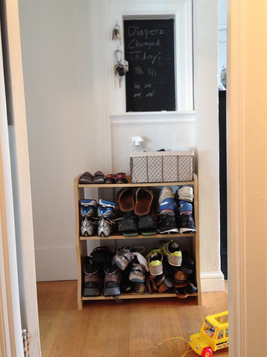 studio apartment shoe storage
