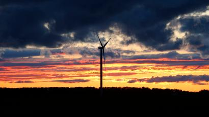 This Sept. 11, 2015 photo shows a wind turbine generating power for electricity near Caseville, Mich.