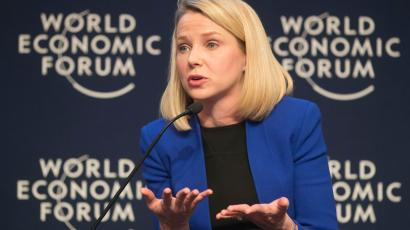Yahoo CEO Marissa Mayer gestures as she speaks during a session at the World Economic Forum in Davos, Switzerland, Wednesday, Jan. 22, 2014, the opening day of the World Economic Forum where world's financial and political elite will meet in the upcoming days in Davos. (AP Photo/Michel Euler)