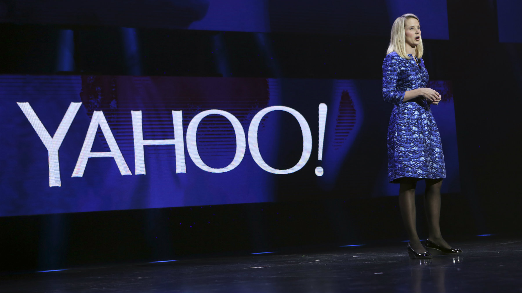 Yahoo CEO Marissa Mayer delivers her keynote address at the annual Consumer Electronics Show (CES) in Las Vegas, Nevada.