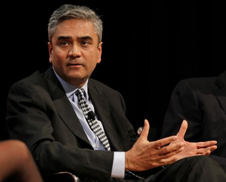 Anshu Jain, head of the Corporate and Investment Bank and member of Deustche Bank's management board, gestures while participating in a panel discussion at the Buttonwood Gathering on Fixing Finance in New York, Monday, Oct. 25, 2010. ()