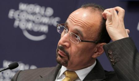 """President and CEO, Saudi Aramco, Saudi Arabia, Khalid A. Al Falih pauses before speaking during a session at the World Economic Forum in Davos, Switzerland on Wednesday, Jan. 26, 2011. Buoyed by a burst of optimism about the global economy and mindful of the """"new reality"""" that has framed it in the aftermath of the financial crisis some 2,500 business leaders, politicians and social activists will tackle an array of issues on the first day of the World Economic Forum. (AP Photo/Virginia Mayo)"""
