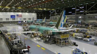 A Boeing 737 MAX airplane being built is shown on the assembly line in Renton, Washington.