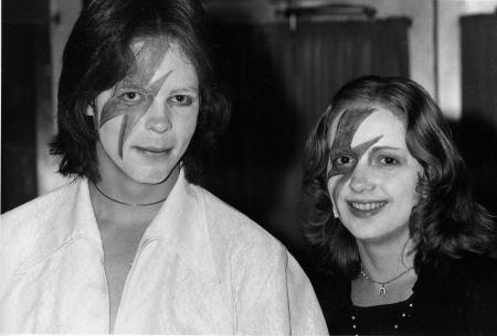 Two fans of glitter-rock singing star David Bowie wears makeup at Bowie's weekend concert at New York's Radio City Music Hall, Nov. 3, 1974.