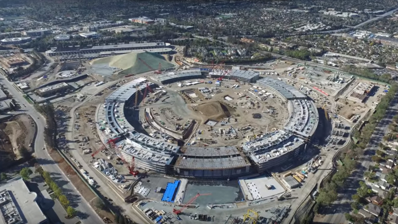apple headquarters as seen by drone