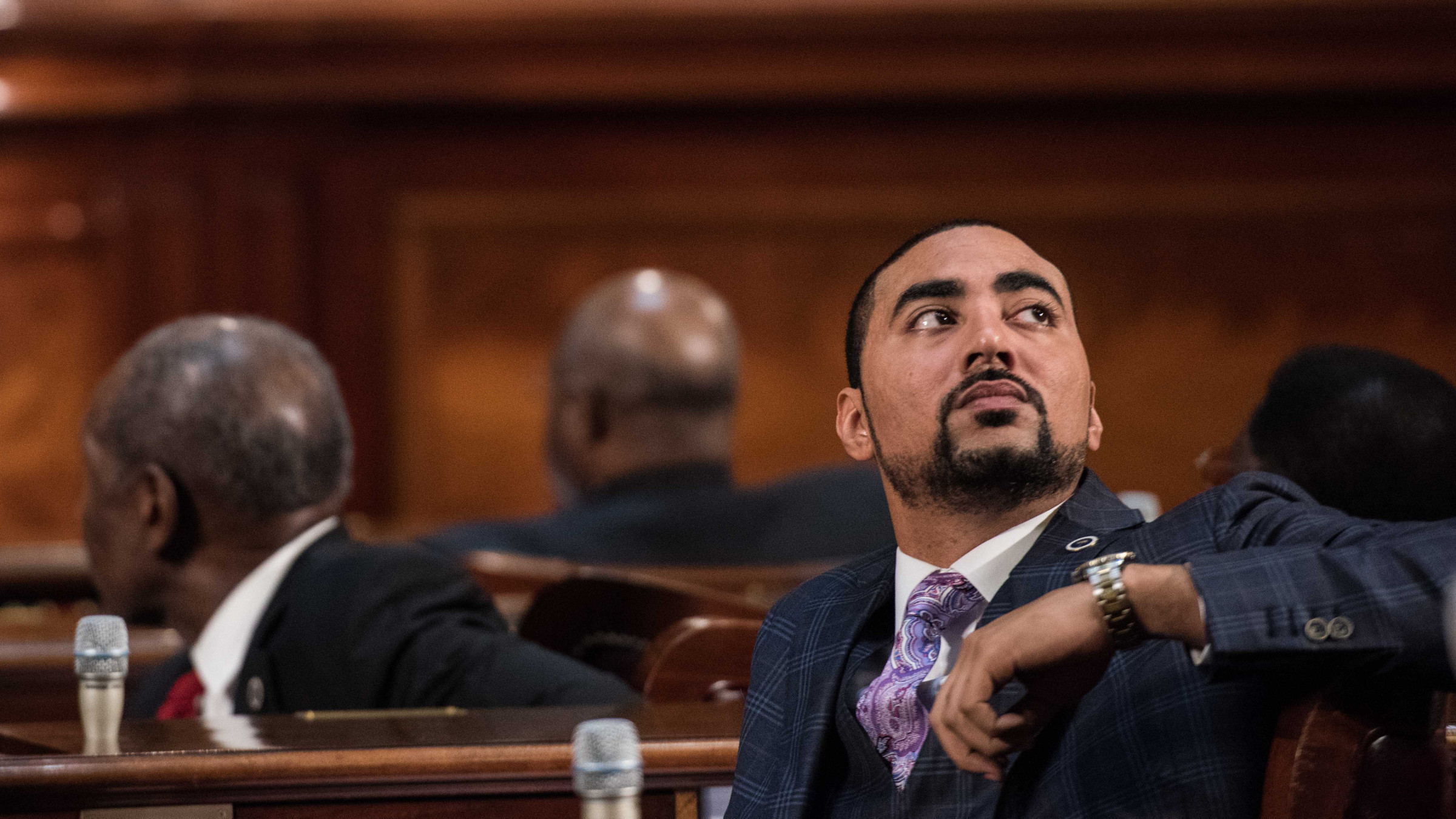 Rep. Justin Bamberg, D-Bamberg, looks up into the balcony during the State of the State in the House chambers at the South Carolina Statehouse on Wednesday, Jan. 20, 2016, in Columbia, S.C.
