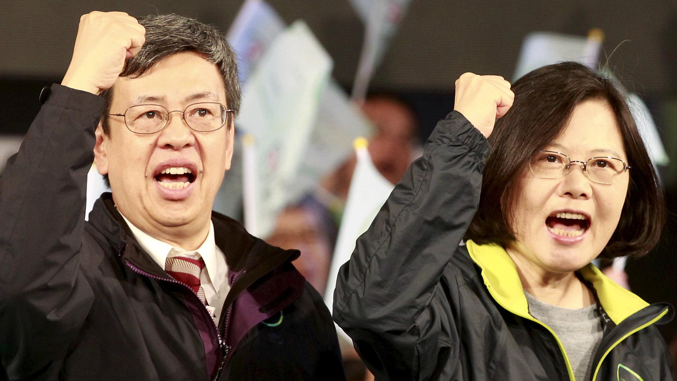 Chen Chien-Jen, left, with president elect Tsai Ing-Wen.