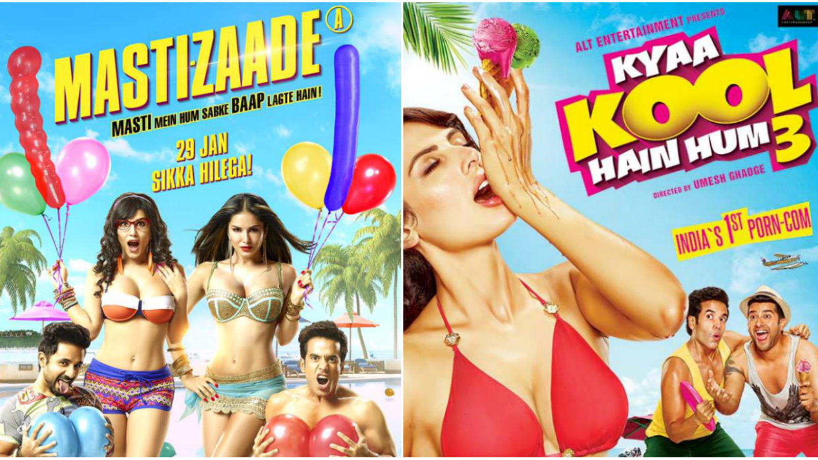 Film posters of two upcoming Bollywood adult films.