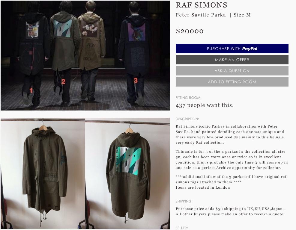 Screenshot of the Grailed listing for three Raf Simons parkas