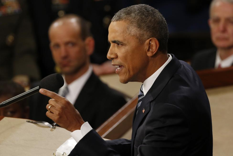 President Barack Obama delivers his State of the Union address to a joint session of Congress in Washington, January 12, 2016.
