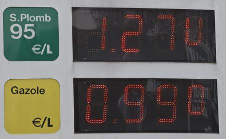 Gas prices are displayed at a petrol station in Le Chesney, France, Tuesday, Dec. 29, 2015. Petrol prices are expected to keep falling as the major oil producing countries fight for market share by increasing production. The diesel in France drops less than 1euro a liter, the lowest level in since 2009.