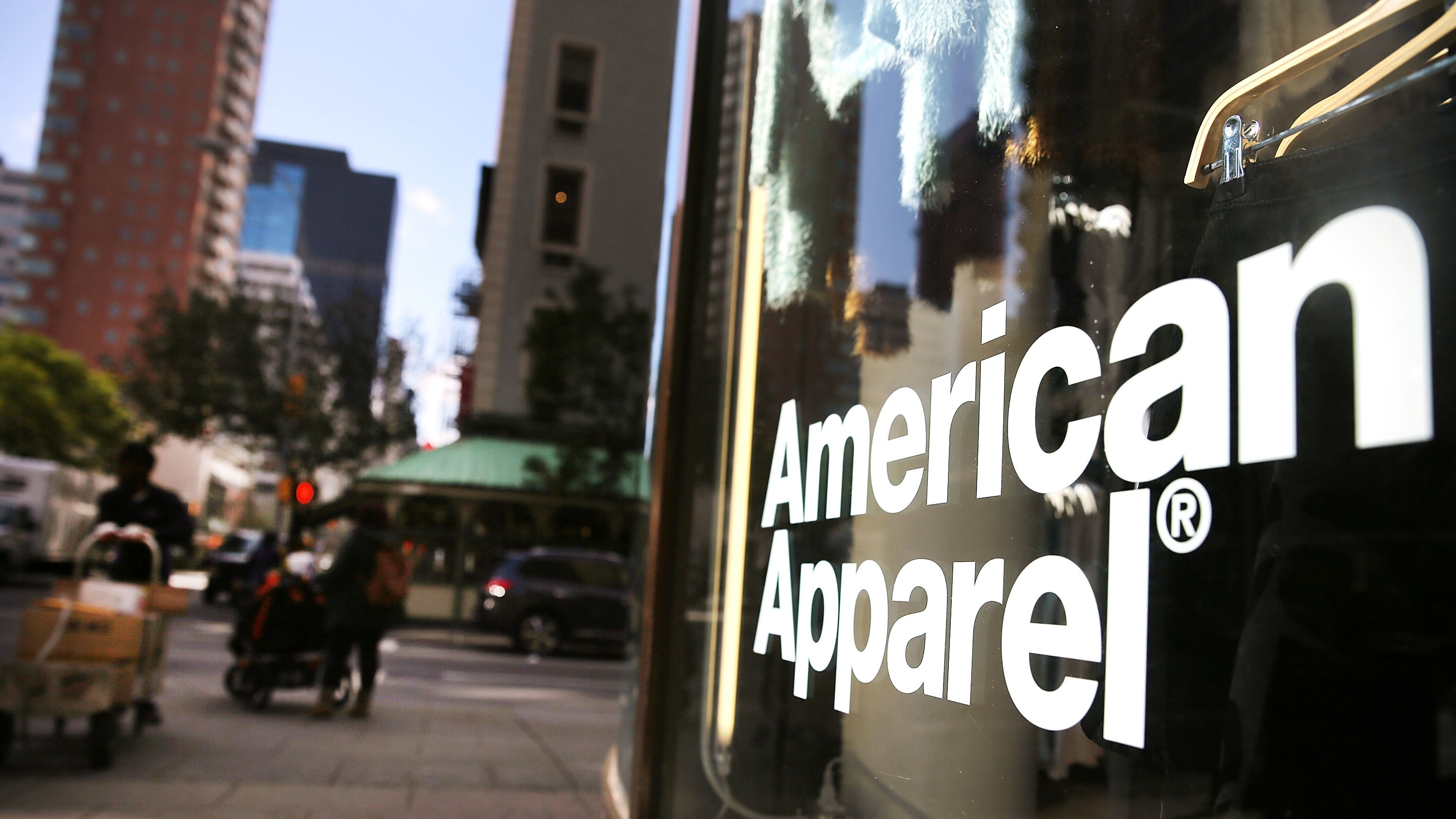 The American Apparel logo is displayed outside of a store on October 5, 2015 in New York City.