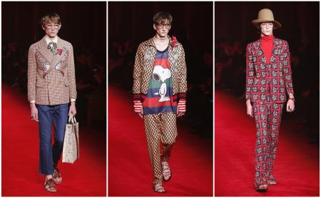 Models wear creations for for Gucci men's Fall-Winter 2016-2017 collection, part of the Milan Fashion Week, unveiled in Milan, Italy, Monday, Jan. 18, 2016.