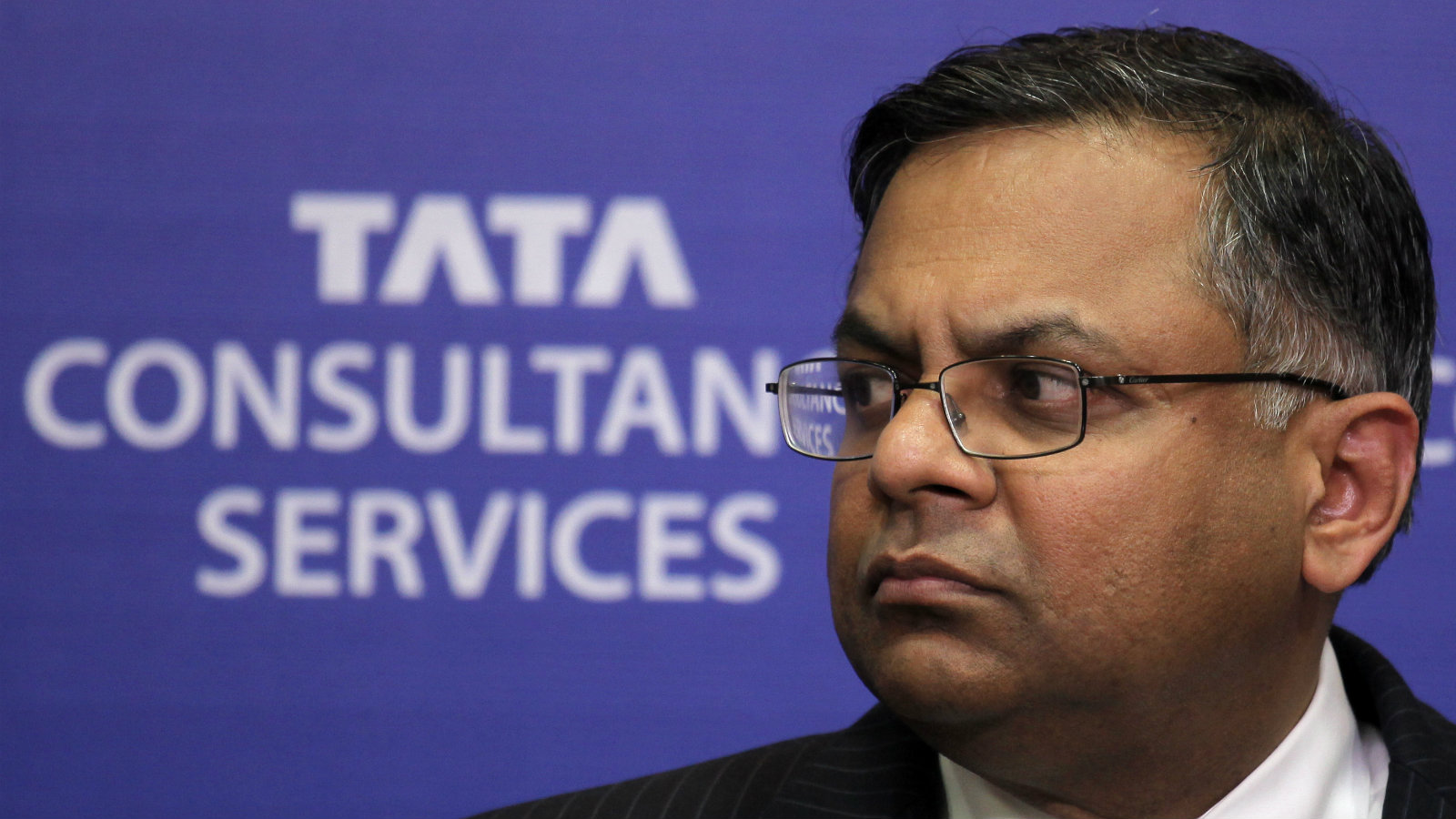 Chief Executive Officer and Managing Director of Tata Consultancy Services (TCS), Natarajan Chandrasekaran, looks on during the announcement of the fourth quarter results in Mumbai, India, 17 April 2013. The country's top software exporter, Tata Consultancy Services, reported a 22 percent rise in quarterly profit (year-on-year).