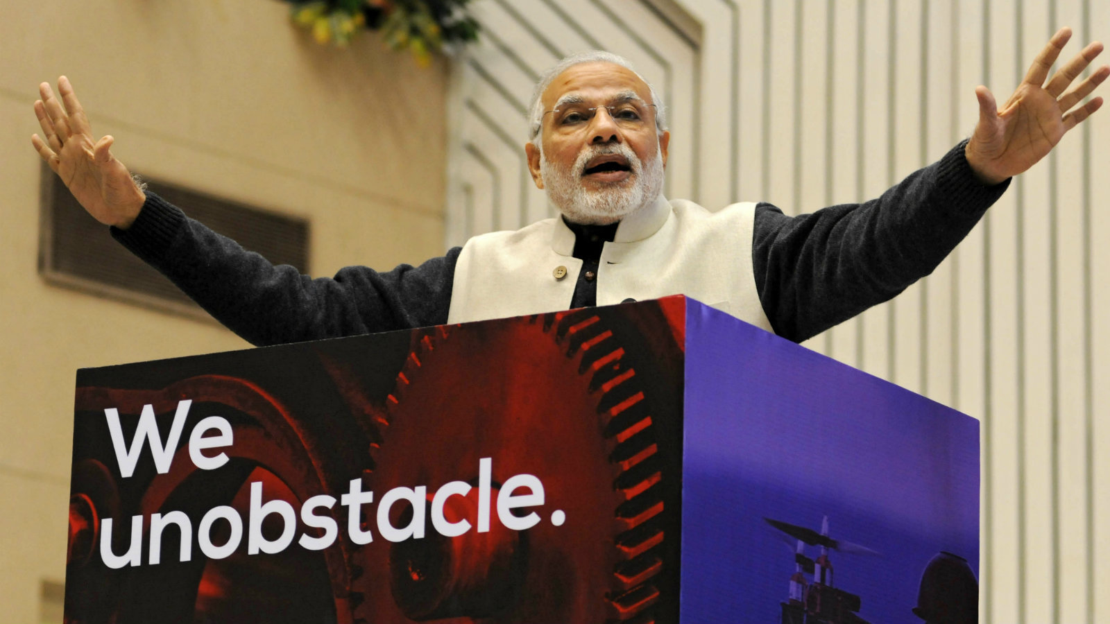 Indian Prime Minister Narendra Modi delivers a speech during 'Start Up India' event to launch the initiative and unveil the startup Action Plan by him in New Delhi, India, 16 January 2016. Centred around the entrepreneurial spirit of India, the Start-Up India plan is expected to boost the entrepreneurship in the country. The Indian government said it will introduce friendly tax measures and easy financing for start-ups to boost entrepreneurship at the grass-root level. With 4,200 firms, India already ranks third in the world in terms of the number of start-ups, behind the United States and Britain.
