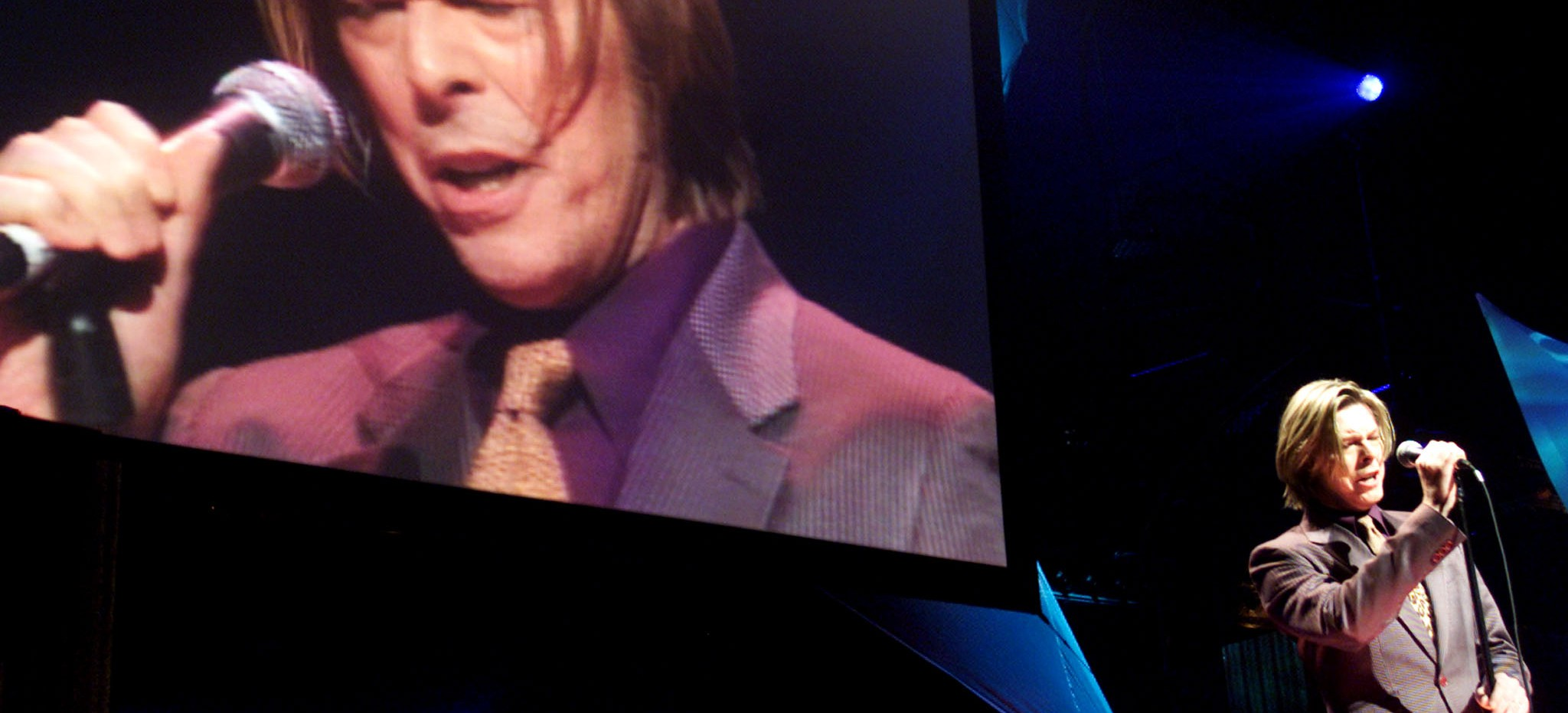 Entertainer David Bowie sings at the Yahoo! Internet Life Online Music Awards in New York July 24, 2000.  Bowie was honored with awards for the Best Official Artist Site, www.bowienet.com, and with a 2000 Online Pioneer Award at the show designed to honor the best music sites on the internet. -