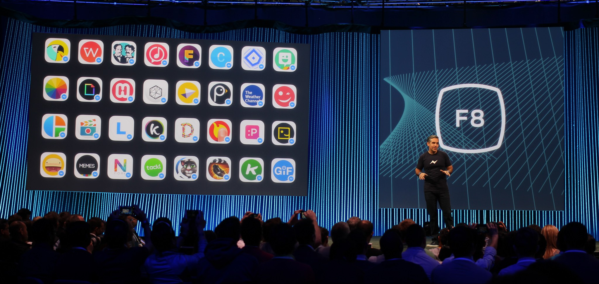 David Marcus talking about Facebook Messenger onstage at F8 2015
