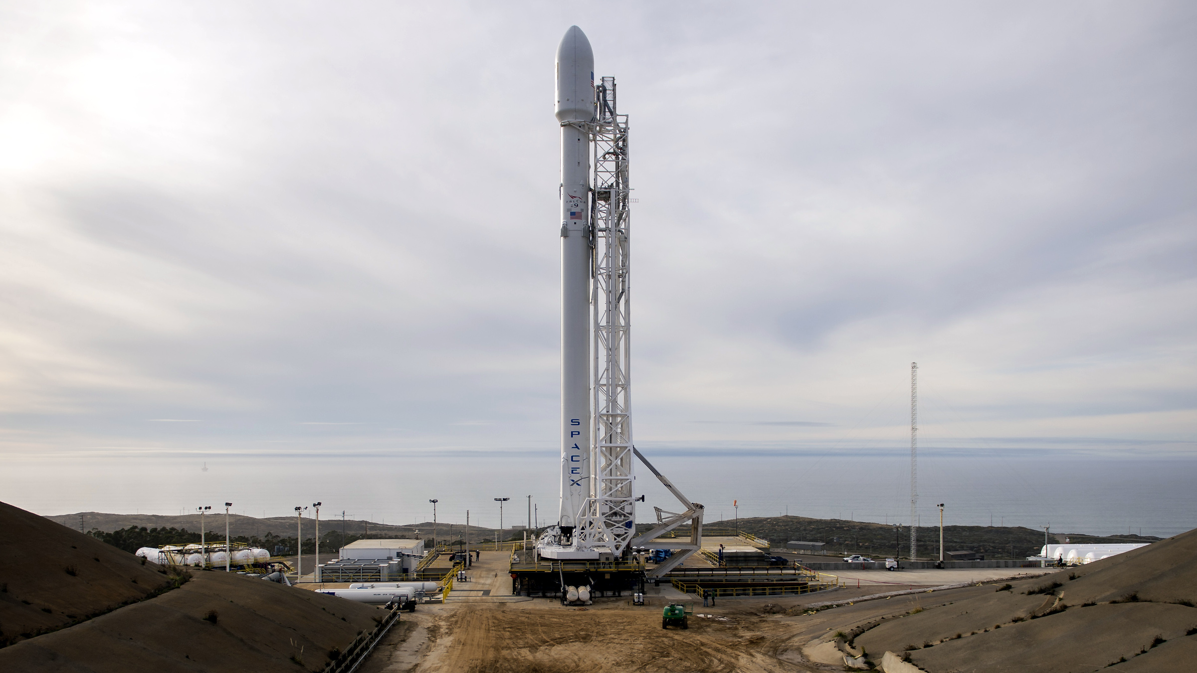 The SpaceX Falcon 9 rocket is seen at Vandenberg Air Force Base Space Launch Complex 4 East with the Jason-3 spacecraft onboard, Saturday, Jan. 16, 2016, in California. Jason-3, an international mission led by the National Oceanic and Atmospheric Administration (NOAA), will help continue U.S.-European satellite measurements of global ocean height changes.