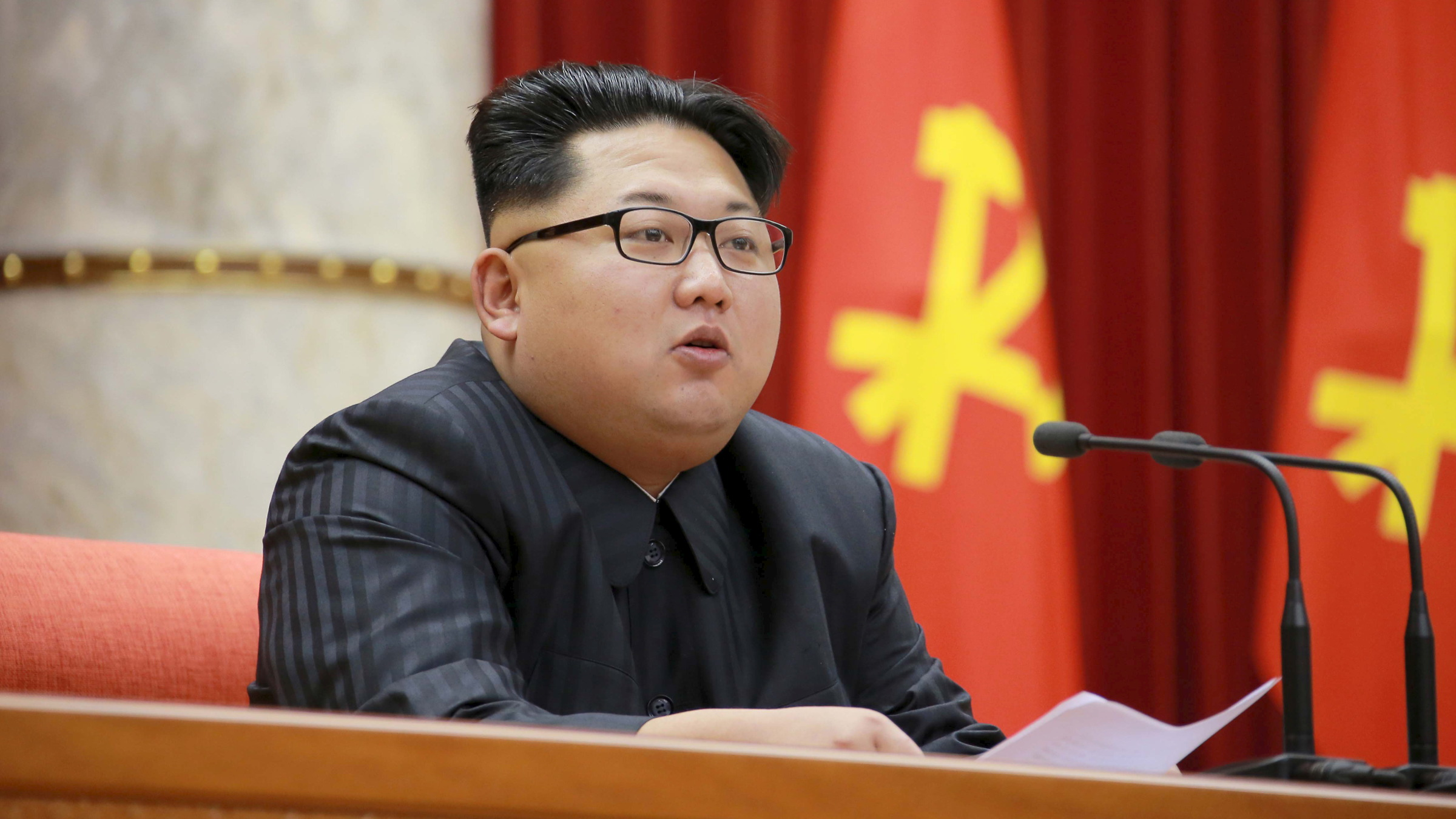 North Korean leader Kim Jong Un attends the 3rd Meeting of Activists in Fisheries under the Korean People's Army (KPA) in this undated photo released by North Korea's Korean Central News Agency (KCNA) in Pyongyang December 29, 2015.