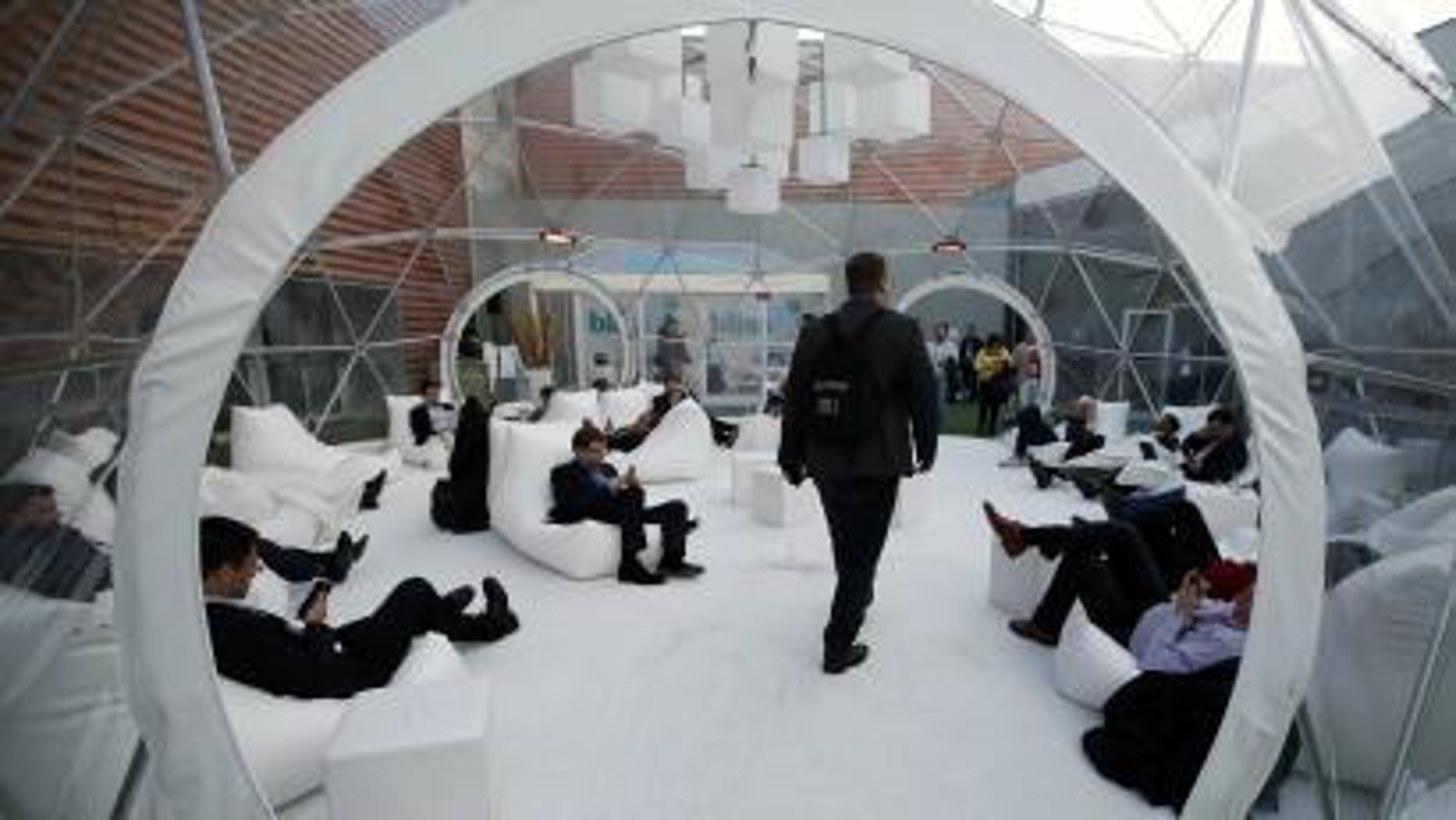 men in bubble room