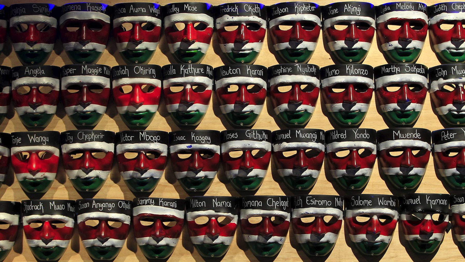 Face masks with names of the Garissa university students who were killed during an attack in April.