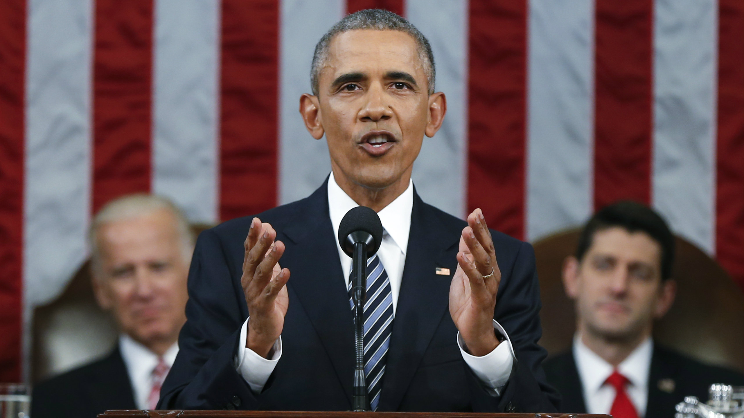 President Barack Obama delivers his final State of the Union address to a joint session of Congress in Washington January 12, 2016.