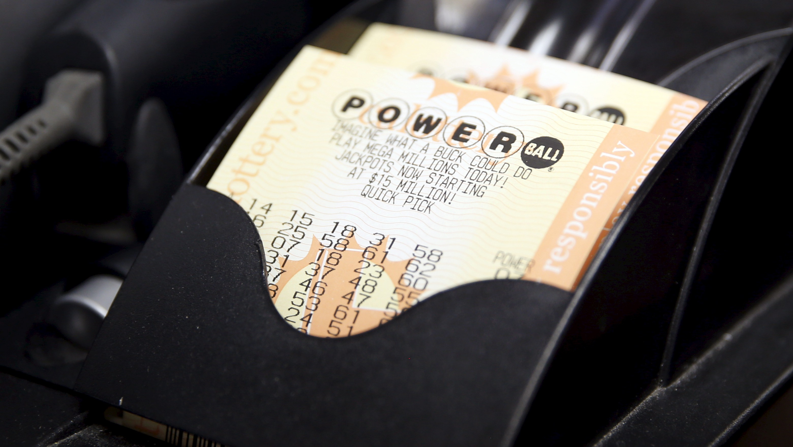 Powerball lottery tickets are seen at Bluebird Liquor in Hawthorne, Los Angeles