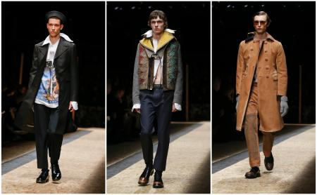 Models wear creations for Prada men's Fall-Winter 2016-2017 collection, part of Milan Fashion Week, unveiled in Milan, Italy, Sunday, Jan. 17, 2016.