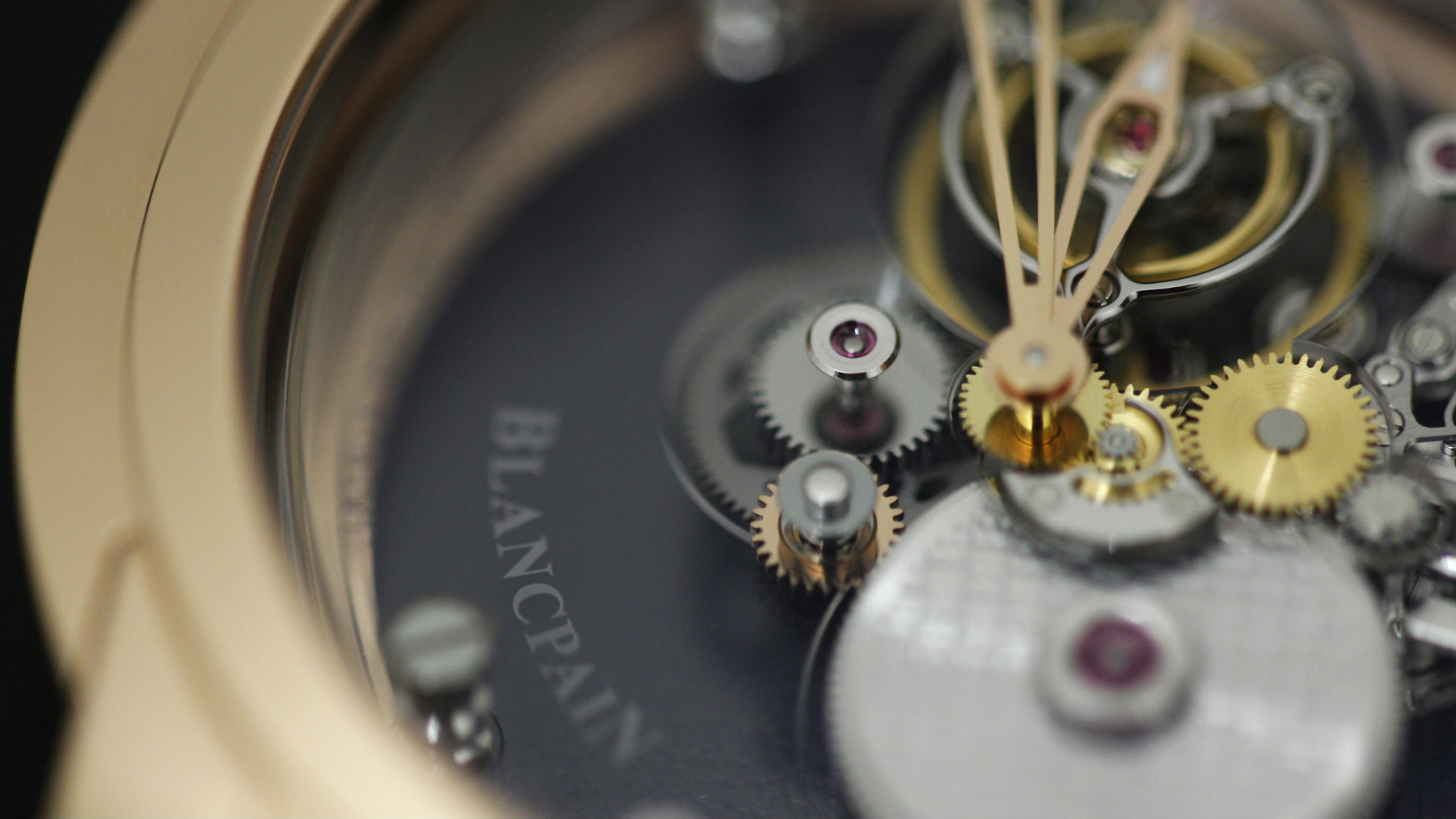A Blancpain logo is seen on a watch displayed on the watchmaker's showcase at the 2010 Baselworld in Basel, Switzerland.