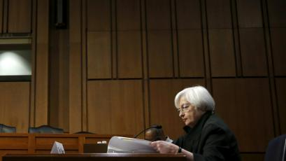 """United States Federal Reserve Chair Janet Yellen testifies before a Joint Congressional Economic hearing on """"The Economic Outlook"""" on Capitol Hill in Washington, DC."""