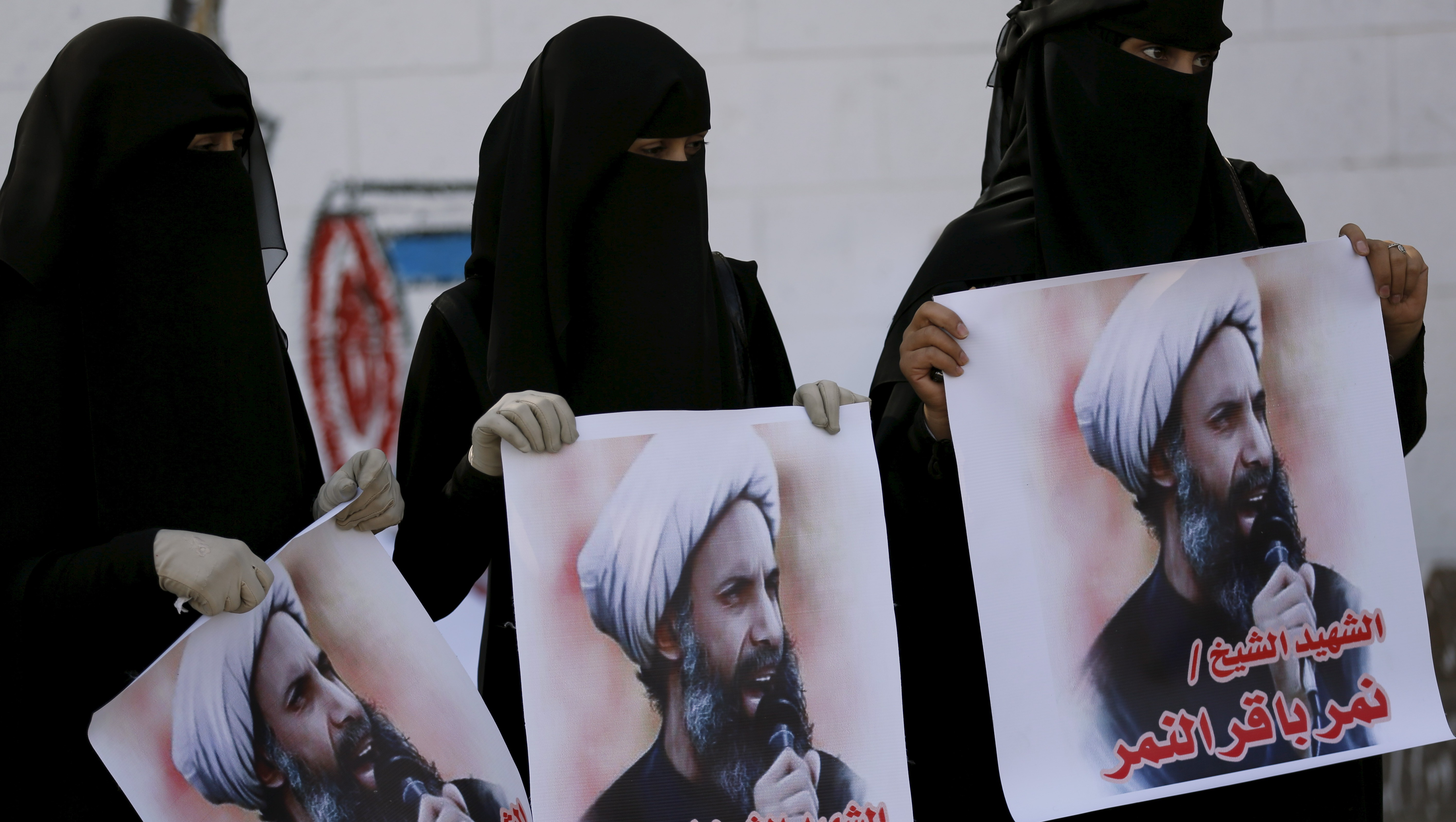 Supporters of the Houthi movement protest against the execution of Shi'ite Muslim cleric Nimr al-Nimr in Saudi Arabia, in Sanaa, Yemen.