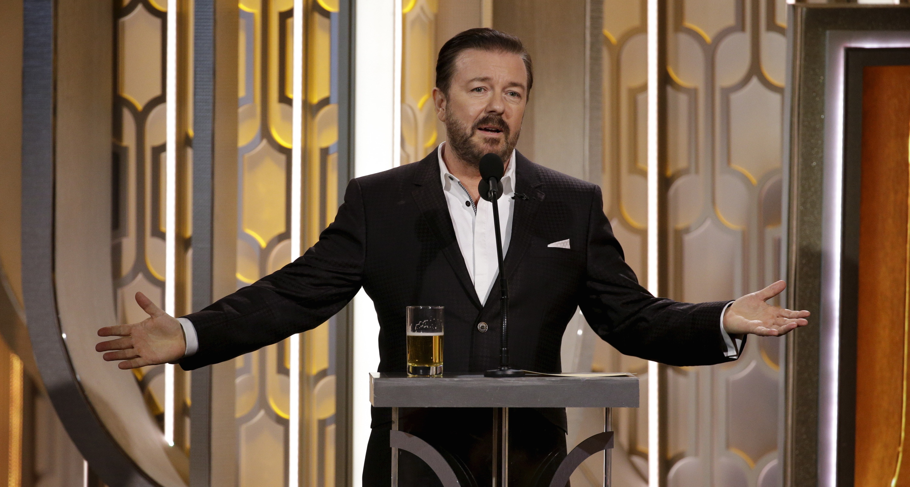 Ricky Gervais hosts the 73rd Golden Globe Awards in Beverly Hills, California, January 10, 2016.
