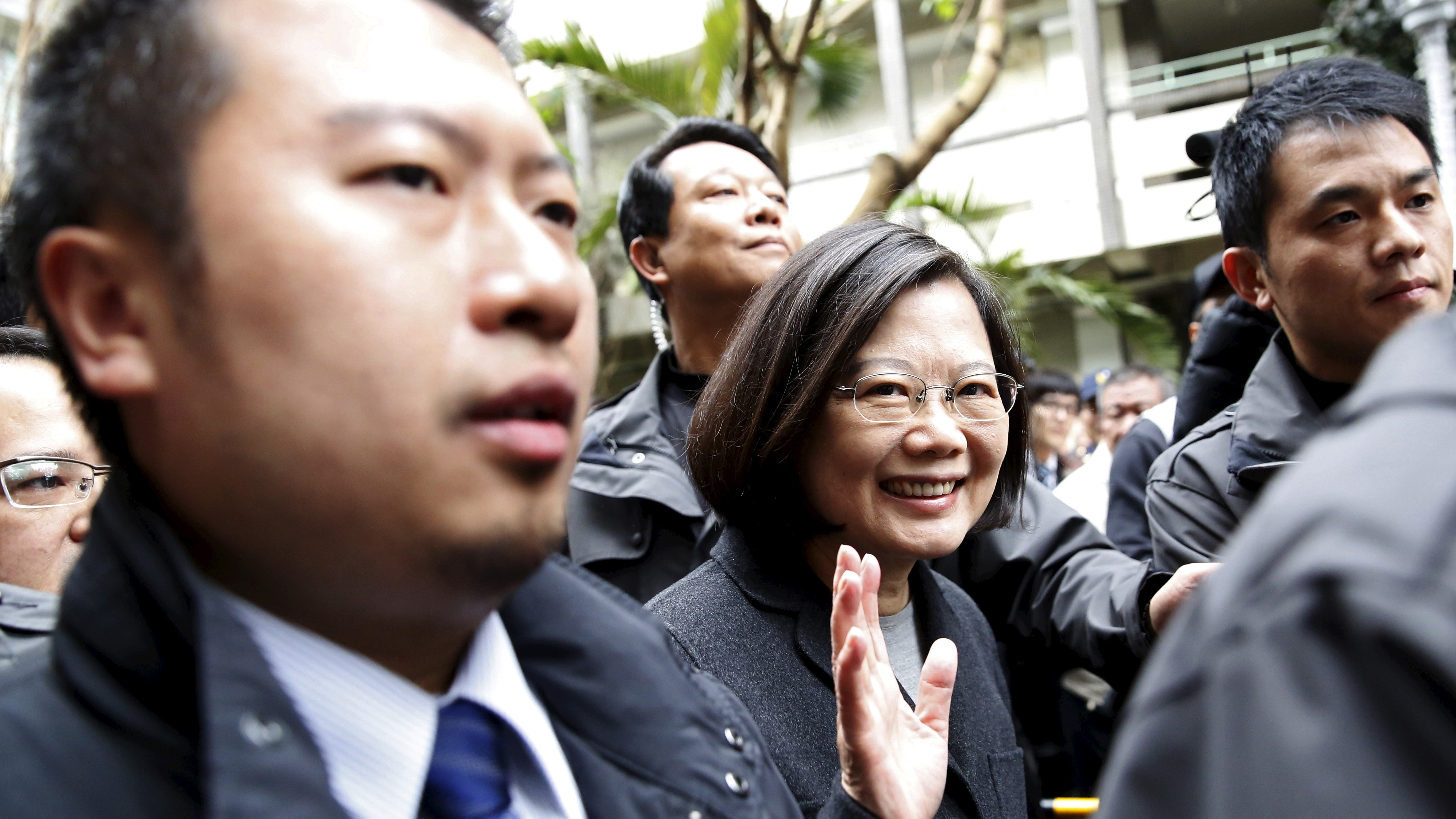 Taiwan's Democratic Progressive Party (DPP) Chairperson and presidential candidate Tsai Ing-wen leaves the polling station after casting her ballot during general elections in New Taipei, Taiwan, January 16, 2016. REUTERS/Olivia Harris - RTX22LYY