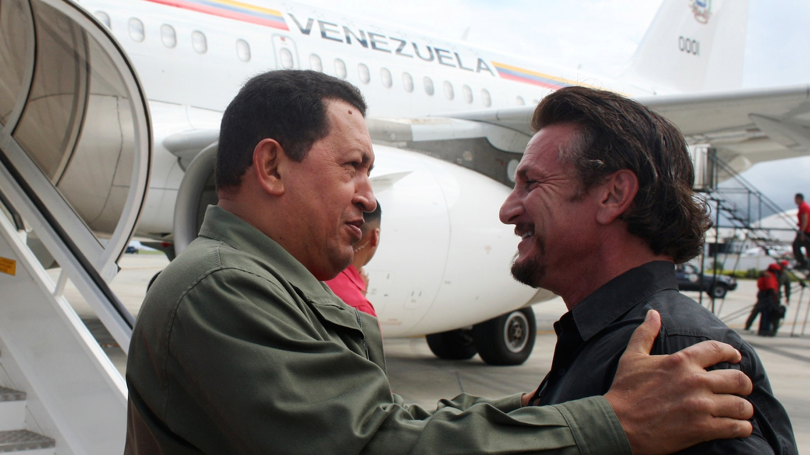 Sean Penn embraces Venezuela's recently deceased former dictator, Hugo Chávez, near Caracas in 2008.
