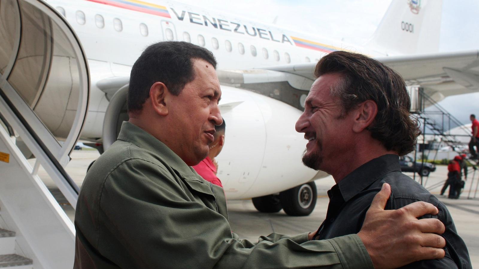 Sean Penn embraces Venezuela's recently deceased former dictator, Hugo Chávez, near Caracas in 2008.