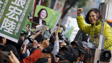 Taiwan's Democratic Progressive Party (DPP) Chairperson and presidential candidate Tsai Ing-wen greets supporters during a campaign rally in New Taipei City, Taiwan January 13, 2016.