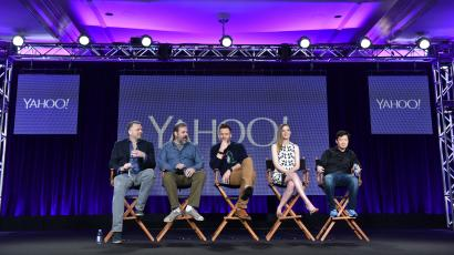"""IMAGE DISTRIBUTED FOR SONY PICTURES TELEVISION - Executive Producer Chris McKenna, from left, Creator/Executive Producer Dan Harmon, Joel McHale, Gillian Jacobs, and Ken Jeong speak during the Yahoo! """"Community"""" panel at Winter TCA at the Langham Hotel on Tuesday, January 13, 2015, in Pasadena, Calif. (Photo by John Shearer/Invision for Sony Pictures Television/AP Images)"""