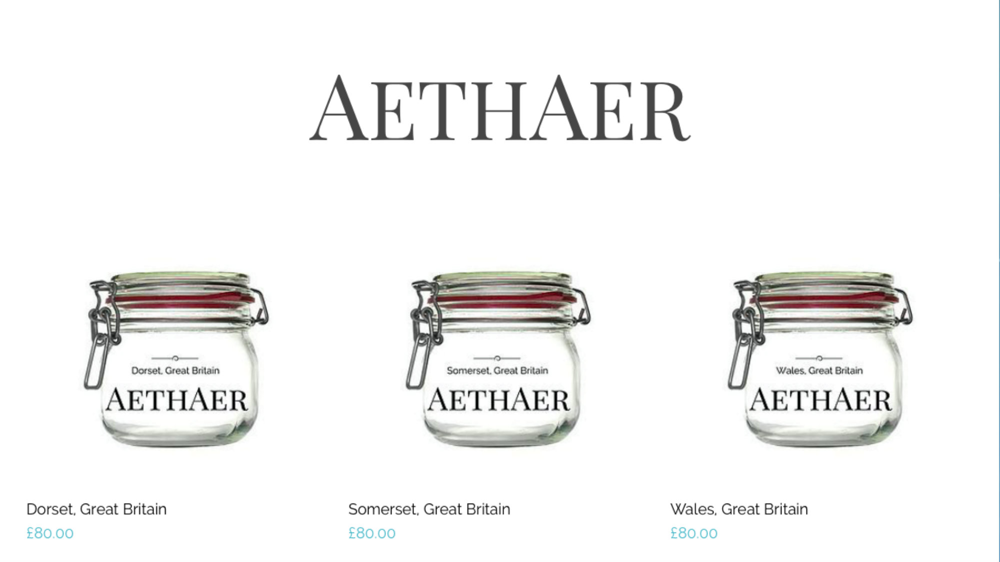 A screenshot of the products page at Aethaer.