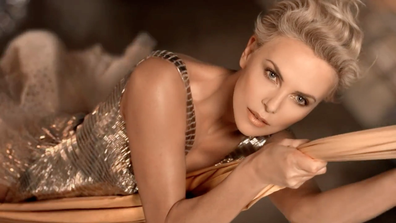 "Charlize Theron in a still from Dior's ""The future is gold"" commercial"